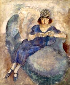 Girl in Blue Dress on Sofa, Reading Jules Pascin - circa 1922