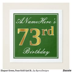 Elegant Green, Faux Gold Birthday + Name Paper Napkin 39th Birthday, Birthday Name, Birthday Parties, Birthday Greeting Cards, Paper Napkins, Wrapping, Showers, Gold Number, Elegant