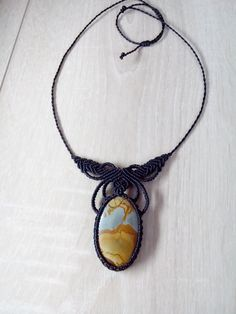 Necklace set with Jasper's macrame by NellyMagination on Etsy