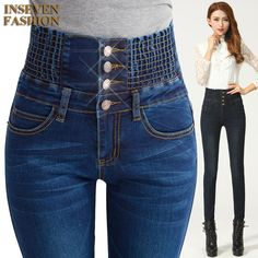 High Waist Skinny Jeans Women 2016 Fashion Button Slim Plus Size Denim Trousers Pencil. Gender: WomenItem Type: JeansFit Type: SkinnyDecoration: Button,Pockets,PleatedJeans Style: Pencil PantsWaist Type: HighFabric Type: SoftenerMaterial: Cotton,Polyester,SpandexLength: Full LengthClosure Type: Button FlyWash: LightModel Number: A2Y0072jeans: women jeanshigh waist jeans: plus size jeansladies jeans: female jeansskinny jeans: denim pantsItem Type: Full Length  size Waist Width(cm) Hip…
