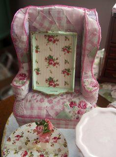 miniature shabby chic mint green with roses tray. $10.00, via Etsy.