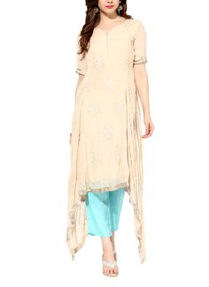 Indian Fashion Designers - House Of Trove - Contemporary Indian Designer - Tunics - HT-AW15-S003A - Asymmetrical Cream Tunic Set
