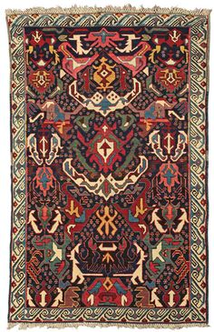 "Alberto Levi Gallery  Bijov rug Northeast Caucasus circa 1850 178 x 110 cm (5'10"" x 3'7"")   The rugs attributed to the village of Bijov, situated in the Zeikhur area, are characterised by an ascending pattern that clearly pays its dues to the Dragon carpets of the classical period."