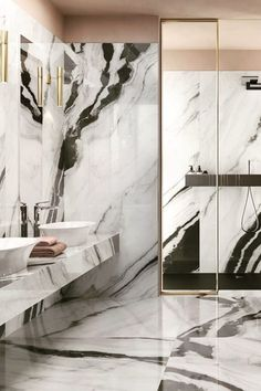 Can't keep our eyes off this stunning bathroom filled with the striking black and white veins of Panda Marble. 🖤✨ Indulge with the beauty of this porcelain slab series. Modern Bathroom Design, Bathroom Interior Design, Black Marble Bathroom, Black And White Marble, Bathroom Trends, Luxury Interior Design, Eyes, Panda Art, Corian