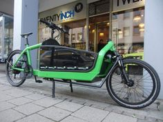Cargo bike: Custom green Bullitt with Custom Fork