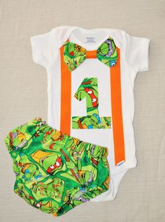 Rylo Teenage Mutant Ninja Turtles shirt with matching diaper cover, Bow tie with matching suspenders. First Birthday, cake smash, TMNT by RYLOwear on Etsy Ninja Turtle Birthday, Ninja Turtle Party, Baby First Birthday, 1st Birthday Parties, Birthday Ideas, Birthday Cake, Teenage Mutant Ninja Turtles, Baby Boy Outfits, Baby Love