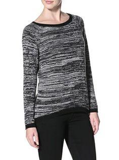 60% OFF Shae Women's High-Low Sweater (Black/Heather Gray Marl)