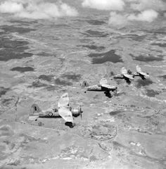 December 1942. Four RAF Westland Lysander aircraft flying over Madagascar following the end of the campaign.