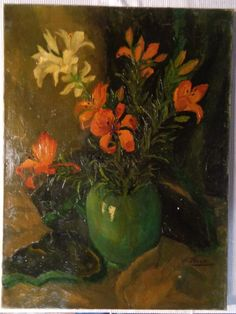 Willy Fleur (1888-1967) oil on canvas flower still life early 20 century