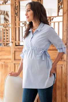 Seraphine's chic Pinstripe Empire Maternity Shirt in soft stretch cotton is a versatile must-have for your new wardrobe. Stylish Maternity, Maternity Wear, Maternity Tops, Maternity Fashion, Maternity Dresses, Pregnancy Outfits, Pregnancy Shirts, Pregnancy Tips, Early Pregnancy
