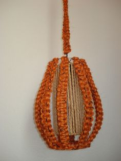 Orange Macrame Hang Lamp- FROM THE 70'S