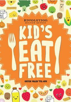 Kids / Children Eat Free Menu & Flyer. Illustration, Typography Designs by www.diagramdesign.co.uk