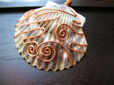 Blue and Purple Shell Pendant Copper by CreeationsStudio on Etsy