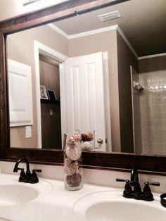 Framed mirror in guest bathroom #mirror #rustic