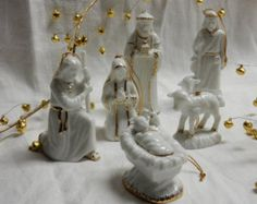 Porcelain white with gold gilt 6 piece nativity scene / Christmas nativity scene / nativity set / vintage nativity scene / nativity ornament