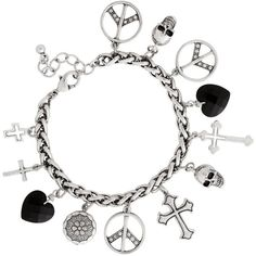 Multi Silver And Jet Bead Charm Bracelet ($8.05) ❤ liked on Polyvore featuring jewelry, bracelets, women's jewellery, bead charm bracelet, silver bangles, heart charm, bracelet bead charms and heart charm bracelet