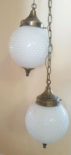 Large antique milk glass hanging light fixture hurricane hanging hobnail milk glass vtg double hanging pendant swag lamp chandelier light aloadofball Image collections