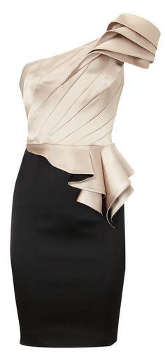 karen Millen One Shoulder Signature Apricot And Black Dress