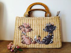 Vintage Cappelli Purse Straw Cats Gingham Wood by NeutralNellies