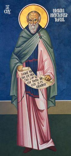 """Sfântul Cuvios Maxim Mărturisitorul - frescă din Capela Seminarului Teologic Ortodox """"Sfântul Vasile cel Mare"""", din Iași"""