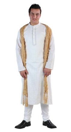 White Men`s Kurta Set $43.99