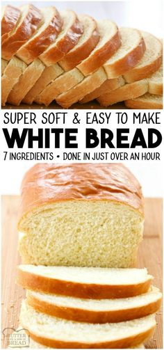 bread recipes White Bread recipe made with basic ingredients amp; detailed instructions showing how to make bread! Done in just over an hour this recipeis one of the best soft white sandwich bread recipes. from BUTTER WITH A SIDE OF BREAD Easy White Bread Recipe, Homemade White Bread, Best Bread Recipe, Homemade Breads, One Hour Bread Recipe, Recipe For Making Bread, Soft White Bread Machine Recipe, Bread Dough Recipe, Bread Recipe For Beginners