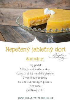Nepečený dort je oblíbený dezert hlavně v létě. Nepečený jablečný dort je velmi chutný a osvěžující. Jeho příprava je snadná a velice rychlá, zvládnou ho připravit i začínající kuchaři. Skvěle poslouží i jako narozeninový dort. | Nepečený jablečný dort recept | | Nepečený jablečný dort s piškoty | Jablečný dort | dort z jablek | nepečený dezert | rychlý dort | nepečené dezerty | #nepeceny #dort #recept #jablka Cookie Recipes, Sweets, Cheese, Cookies, Fruit, Party, Desserts, Food, Recipes For Biscuits