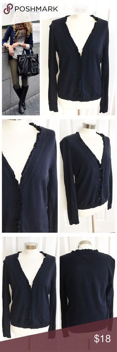 NY & CO Navy Blue Cardigan New York and Company long sleeve cardigan with a little ruffle around trim. Size large. 77% rayon 23% nylon. Some slight pilling from normal wear. First photo on left not actual item just showing for styling inspiration! New York & Company Tops
