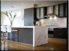 New kitchen marble benchtop island bench Ideas Home Decor Kitchen, Kitchen Interior, New Kitchen, Kitchen Grey, Kitchen Island, Marble Benchtop, Kitchen Benchtops, Calacatta Marble, Grey Kitchens