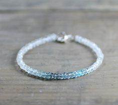 White Topaz & Moss Aquamarine Bracelet Delicate by EleriaJewelry