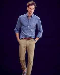 J.Crew men's jaspé cotton shirt, broken-in 484 chino pants, Wallace & Barnes roller belt, and Timex for J.Crew Andros watch.