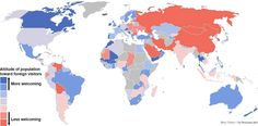 Blue countries are more welcoming, red countries less. Where does yours rank?