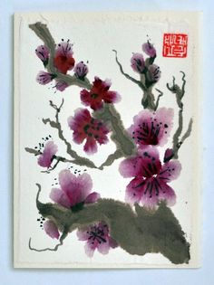 Chinese Sumi-e Ink Plum Blossoms Original Brush Painting, Blank Greeting Card and Envelope