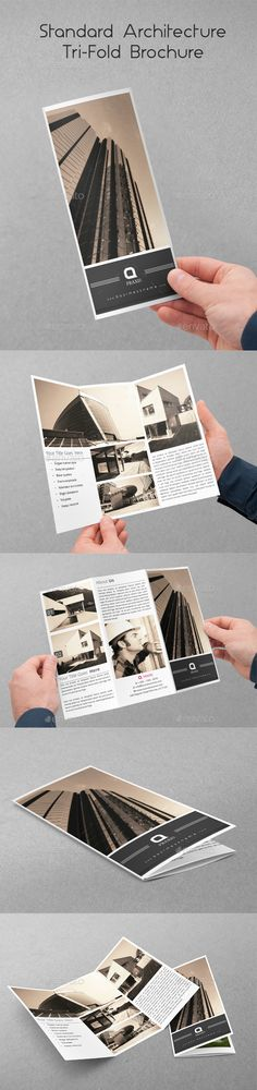 Standard Architecture TriFold Brochure — InDesign INDD #trifold #interior • Available here → https://graphicriver.net/item/standard-architecture-trifold-brochure/10350956?ref=pxcr