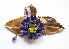 An autumnal brooch by Mihaela Georgescu  Art Bead Scene Challenge: Milton Avery's Autumn   Polymer clay brooch in autumn colors. I have used the sparkling crystals to make it more vivid