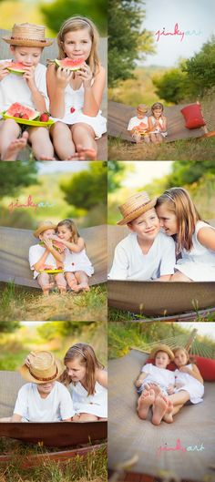 straw hats, sibling photos, summer photos, mini sessions, watermelon, photo idea, photo shoots, summer days, kid