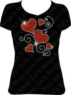 Floating Hearts Rhinestone T-Shirt Design - Zor's Blingz & More