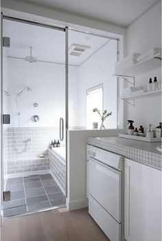 curbless shower, tub/shower space