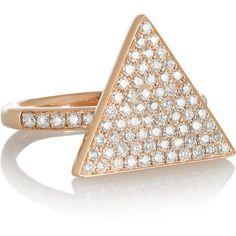 Anita Ko Triangle 18-karat rose gold diamond ring ($4,570) ❤ liked on Polyvore featuring jewelry, rings, gold, fine jewelry, 18k diamond ring, rose gold jewelry, pink gold rings, 18k rose gold jewelry and 18k ring