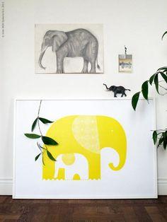 Cuadro Ikea elefante amarillo via ParafernaliaBlog