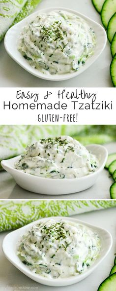 Made with Greek yogurt, this tzatziki sauce perfectly compliments all your favorite Mediterranean dishes! It& gluten-free, high-protein and irresistibly delicious! Homemade Tzatziki Sauce, Tzatziki Recipes, Vegan Tzatziki, Mediterranean Diet Recipes, Mediterranean Dishes, Healthy Foods To Eat, Healthy Snacks, Healthy Recipes, Healthy Yogurt