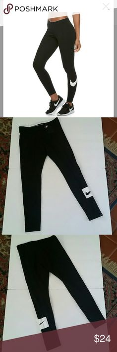 Women's Nike Swoosh Leggings PRODUCT FEATURES: Jersey fabric is smooth and stretchy Elastic waistband provides a snug, secure fit Nike Swoosh design trademark is printed at the left calf  FIT & SIZING: 28-in. approximate inseam  FABRIC & CARE: Cotton, spandex Machine wash  *Price FIRM unless bundled Nike Pants Leggings