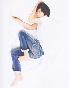 Kazunari Ninomiya.... LOL exactly how I sleep :P I have already pinned this one but will pin again because I love this pic :D