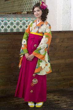 レトロ柄袴 オレンジ/緑色 レトロ系袴 STYLEが大人気 卒業式の袴Styleは女の子の特別な1日!友達と差をつける!! 格安にてご提供!