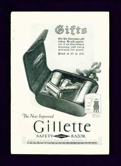 How about a swell gift for your fella? Gillette Safety Razor Christmas Gift Pack Ad C