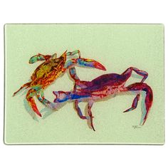 Dance of the Crabs. Tempered glass cutting board with original art.