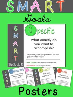 Free SMART Goals posters. Perfect for elementary students.