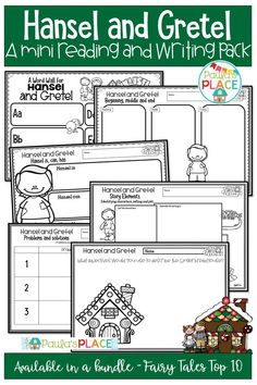 Hansel and Gretel Mini Reading and Writing Activities Writing Posters, Writing Genres, Writing Strategies, Comprehension Strategies, Writing Worksheets, Writing Resources, Teaching Writing, Reading Comprehension, Daily 5 Activities