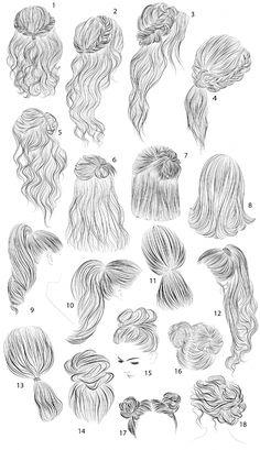 18 vector female hairstyles by colorshop on Creative Market, - Best Frisuren ideen Girl Hair Drawing, Dress Drawing, Hair Styles Drawing, Drawing Hair Braid, Long Hair Drawing, Bow Drawing, Drawing Hair Tutorial, Eye Tutorial, Pelo Anime