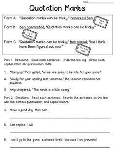 Quotation Marks Worksheet FREEBIE  (Check the blog post to see the anchor chart!)